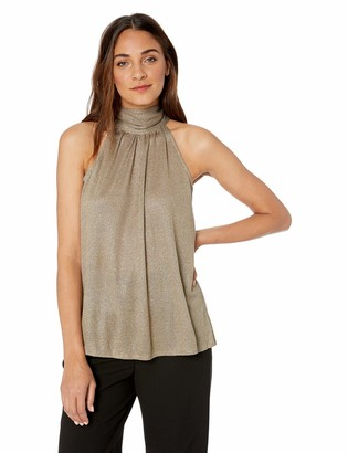 Halston Women's Sleeveless Mock Neck Metallic Knit Hi Lo Top