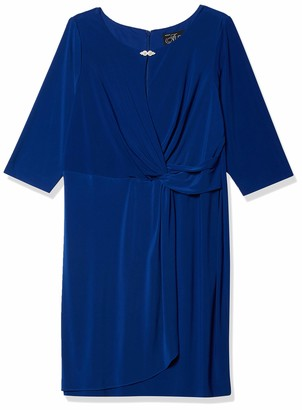 Alex Evenings Women's Plus Size Shift Dress with Front Knot and Keyhole Cutout