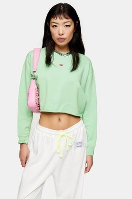 Topshop Womens Petite Green Watermelon Sweatshirt - Green