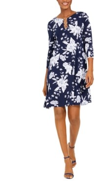 MSK Petite Three-Ring Floral Stretch Jersey Dress