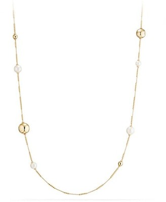 David Yurman Solari Long Station Necklace with Pearls in 18K Yellow Gold