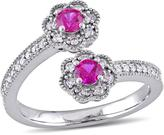 Laura Ashley 5/8 CT TW Lab-Created Ruby and Diamond 10K White Gold Bypass Ring