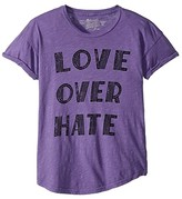 Original Retro Brand The Kids Love Over Hate Rolled Short Sleeve Slub Tee (Big Kids) (Grape) Girl's Clothing