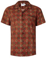 Topman Red Tile Print Revere Collar Short Sleeve Casual Shirt