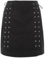 Topshop Moto front lace a-line skirt