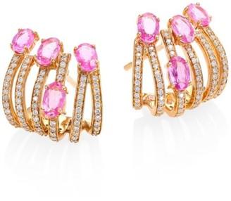 Hueb Rainbow Diamond, Pink Sapphire & 18K Rose Gold Ear Cuffs