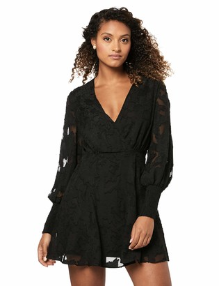 Finders Keepers findersKEEPERS Women's Midnight Lace Long Sleeve V Neck Mini Dress