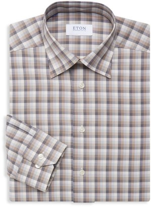 Eton Slim-Fit Plaid Cotton Dress Shirt
