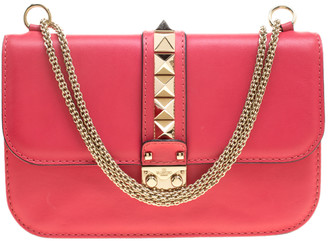 Valentino Hot Pink Leather Rockstud Medium Glam Lock Flap Bag