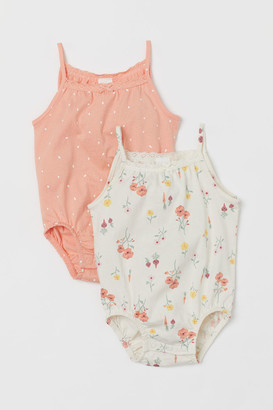 H&M 2-pack Lace-trimmed Bodysuits - Orange