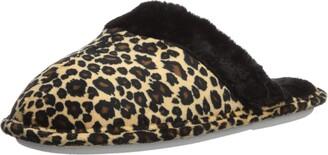 Aerusi Women's Leopard Tartan Faux Fur Slipper 9 M US