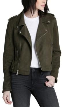 Vigoss Olive Faux-Suede Moto Jacket