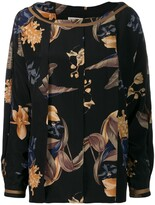 Versace Pre Owned 1980's box pleat floral blouse