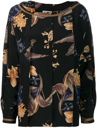 Versace Pre-Owned 1980's Box Pleat Floral Blouse