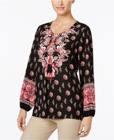 JM Collection Floral Paisley-Print Tunic, Only at Macy's