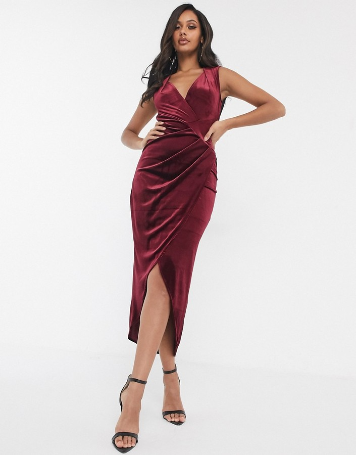 TFNC velvet mesh back bodycon midi dress