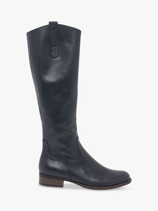 Gabor Brook Slim Fit Leather Low Block Heeled Knee High Boots