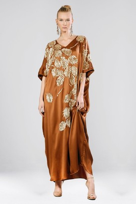 Natori Couture Beaded Peacock Caftan