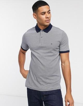 Calvin Klein stripe polo shirt-Navy