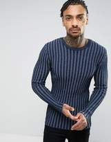 Asos Muscle Fit Ribbed Sweater In Blue