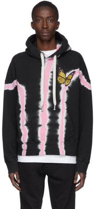 Palm Angels Black and Pink Tie-Dye Butterfly Hoodie