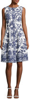 Oscar de la Renta Sleeveless Toile-Print Cotton Dress, White Pattern