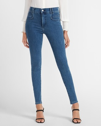 Express High Waisted Denim Perfect Pocket Seam Skinny Jeans