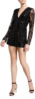 Alexis Riso Sequined Long-Sleeve Romper