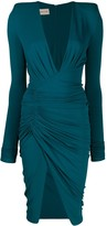 Alexandre Vauthier deep V-neck ruched dress