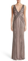 Rachel Gilbert Women's Hand Embellished V-Neck Gown