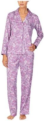 Lauren Ralph Lauren Petite Sateen Woven Long Sleeve Notch Collar Long Pants Pajama Set (Purple Print) Women's Pajama Sets