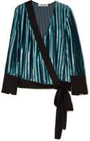Diane von Furstenberg Satin-trimmed Devoré-velvet Wrap Blouse - Blue