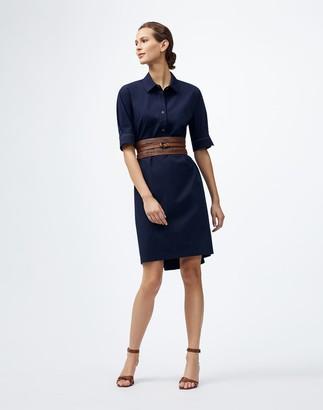 Lafayette 148 New York Plus-Size Italian Pima Cotton Bi-Stretch Boyes Shirtdress