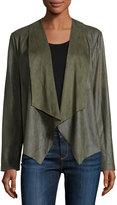 Bagatelle Faux-Suede Open-Front Jacket, Olive