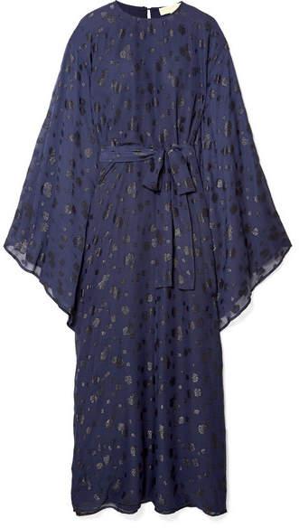 MICHAEL Michael Kors Oversized Metallic Fil Coupé Chiffon Dress - Navy