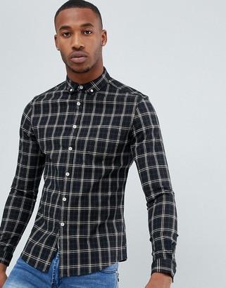 Asos DESIGN skinny check shirt in black