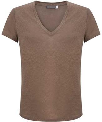 Mint Velvet Mocha Shimmer V-Neck T-Shirt