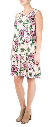 Nina Leonard Sleeveless Lace Up Back Dress