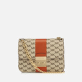MICHAEL Michael Kors Women's Centre Stripe Sloane Editor Medium Chain Shoulder Bag - Natural/Orange