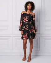 Le Château Floral Print Chiffon Off-the-Shoulder Dress