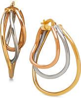Italian Gold Triple Hoop Earrings in 14k White, Yellow & Rose Gold
