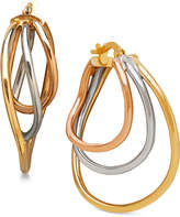 Macy's Tri-Tone Triple Hoop Earrings in Italian 14k White, Yellow and Rose Gold