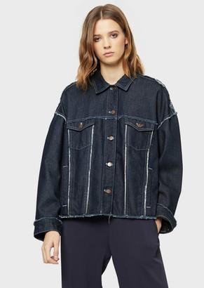Emporio Armani Vintage Denim Jacket With Maxi Logo Patch