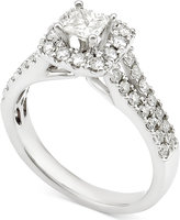 Macy's Diamond Square Halo Engagement Ring (1 ct. t.w.) in 14k White Gold