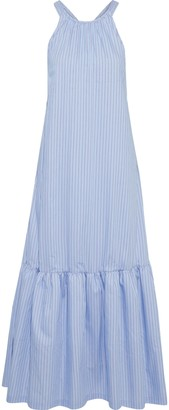 3.1 Phillip Lim Cutout Gathered Striped Cotton-blend Poplin Maxi Dress