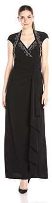 Onyx Nite Women's Long Jersey Gown with Heat Set Stones Cascade Skrit