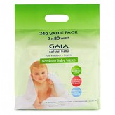Gaia Bamboo Baby Wipes 240 wipes