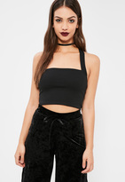 Missguided Black Cross Strap Sleeveless Crop Top