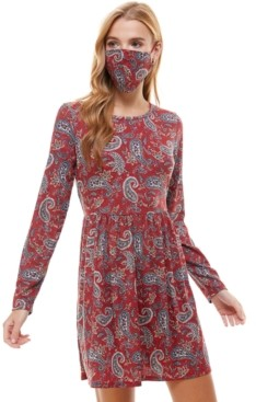 BeBop Juniors' Paisley Metallic Dress & Face Mask