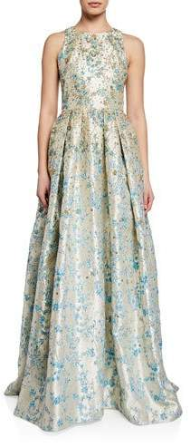 Theia Metallic Floral Jacquard Halter Gown with Sequins and Embroidery